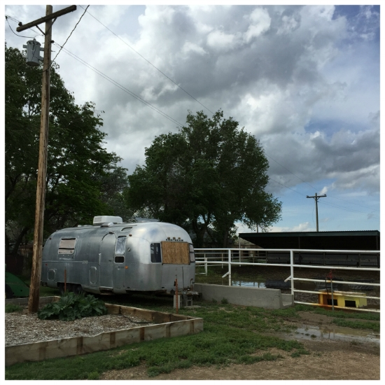 Our 1970 Airstream in storage at Aprils family's farm in Lamar, Colorado
