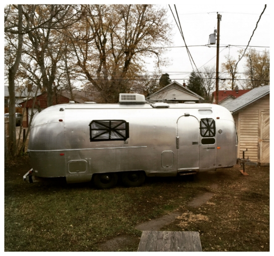 Our 1970 Airstream in our backyard in Denver, Colorado