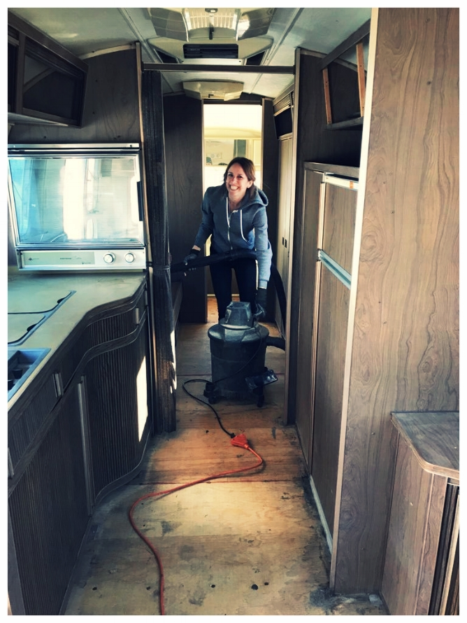 April cleaning Airstream Overlander