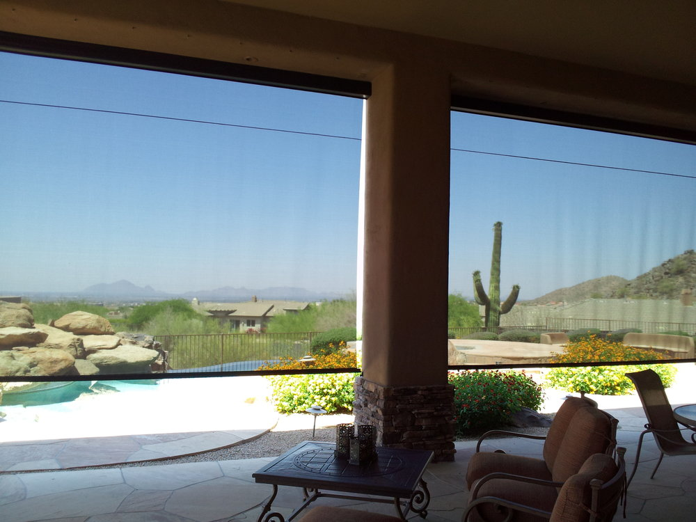 Automatic exterior roll up sun shades in Phoenix, Scottsdale, Gilbert and Tempe