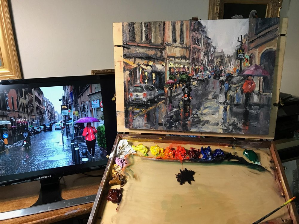 Learn how to paint, Le Strade Di Roma, (The Streets Of Rome), an impressionist style cityscape