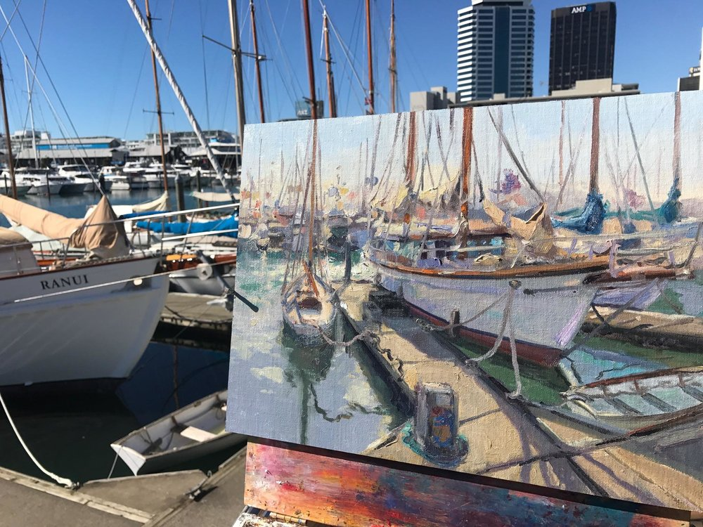 Painting The Ranui, Auckland Viaduct Harbor