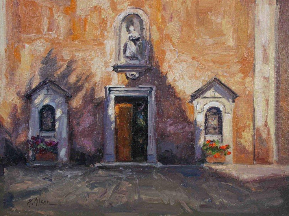 Cypress Shadows, A Church In Rome