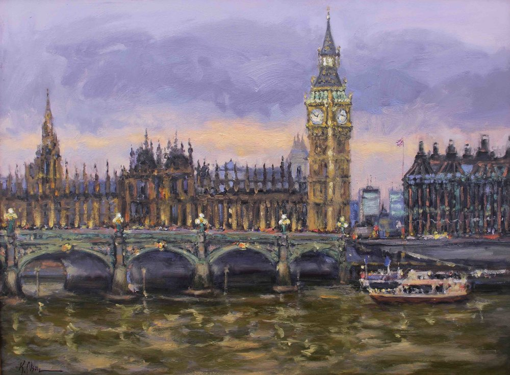 Evening On The Thames, Big Ben And The Houses Of Parliament, London