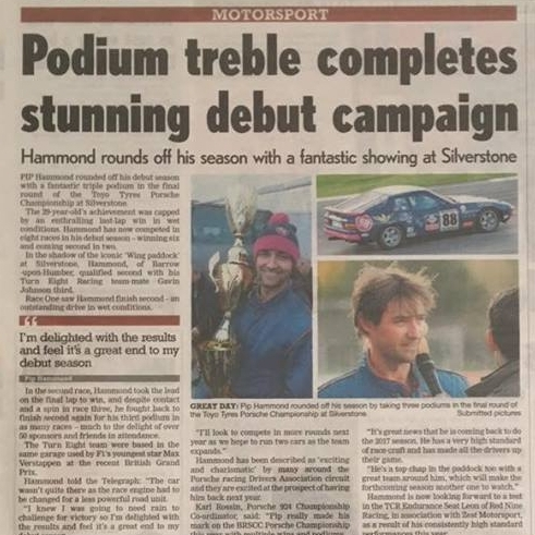 October 31, 2016 -  Pip Hammond article on podium finishes at Silverstone 2016