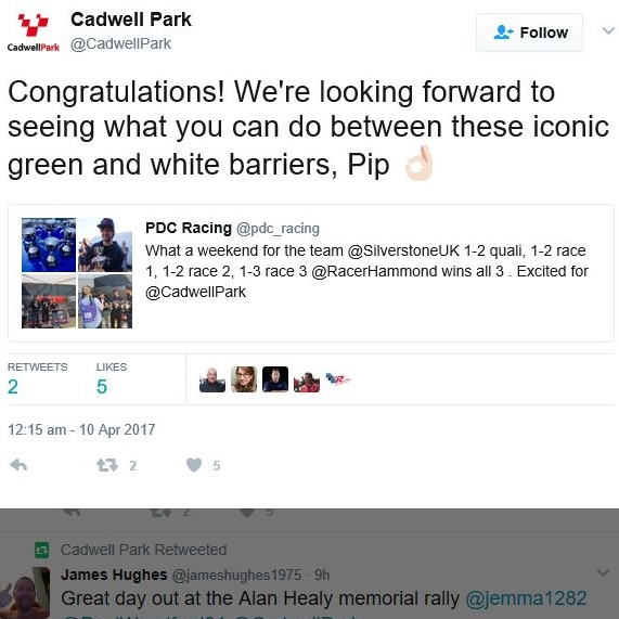 April 10, 2017 -  Cadwell Twitter mentions PDC Racing.