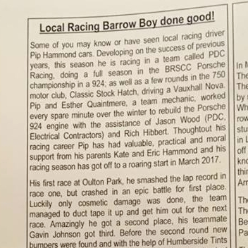 May 2, 2017 -  Barton village magazine article on local driver Pip Hammond.