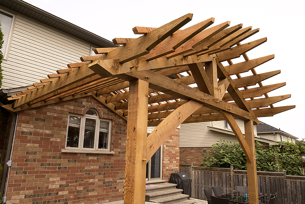 Rough-sawn cedar pergola