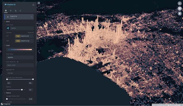 Uber has developed an open sourced data visualisation mapping application, kepler.gl. It used layers as building blocks to develop complex and interactive maps that provide the foundations for users to build and generate their own data visualisation.
