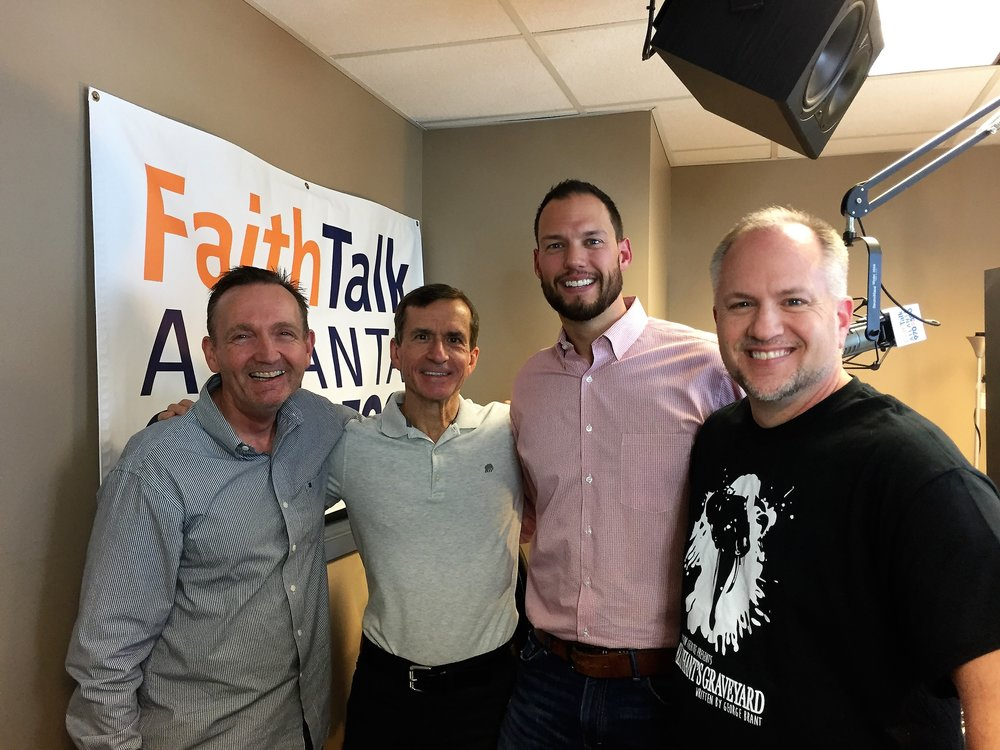 """A recent radio interview that embodies the essence of the series  Adversity: Your New BFF,  and especially Session #4 (Redeeming the Mess). Radio co-hosts Rick Probst (L) and Dan Ratcliffe (R) interview Glenn and Billy Burke (the tall guy) about how God has used the lessons God taught Glenn through an emotionally abusive upbringing to help Billy come to grips with his equally rough background.  Billy considers Glenn a great friend and a primary mentor, and this revealing interview explores what mentorship can look like. Click    here    to view the interview. The first 16 minutes of the interview involve a lot of """"drive-time banter,"""" and the serious content begins at 16:00."""