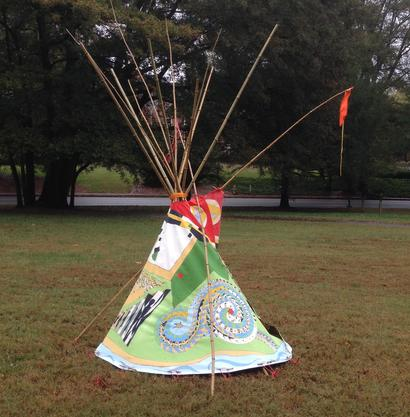 "#TalismanTipi  - installation Dellwood Park ATL  2015 ·  oil paint on canvas, bamboo, dyed rope · ~120""x72""x84"""