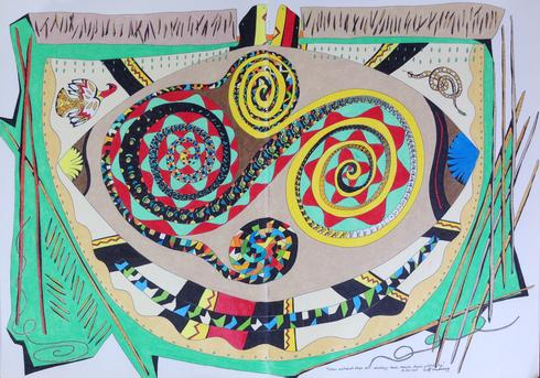 "Cosmic Walkabouts Shape Self Cosmology: Houses, Memories, Dreams, Artefacts Tipi   2015 · pen & ink, color pencil on double notebook paper · 16.5""x23""  (private collection)"
