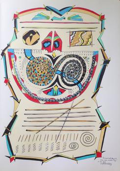 "In and Out, Begin & End, Over 'n Over Tipi  2015 · pen & ink, color pencil on paper · 16.5""x11.5"""