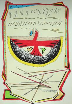 "Talismanic Thunderbird Tipi Memory Bundle 2015 · pen & ink, color pencil on paper · 16.5""x11.5"" (private collection)"