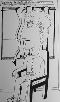 "Waiting by the Curtained Dream Window   2015  ·  pen & ink on paper · 8""x5"""