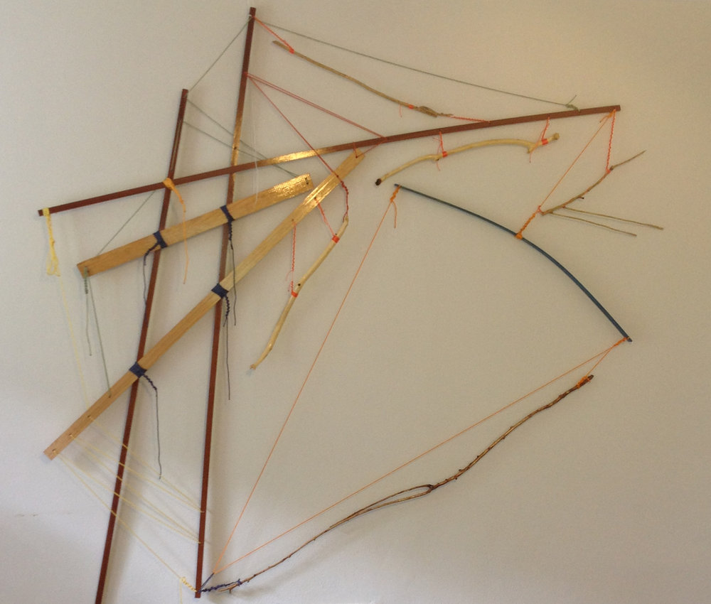 "Self-Organizing Map: framework prototype- 3rd instance   2014 · pine, sapele,southern cypress, spar varnish, crayon, nylon, dye · 87""x86"""