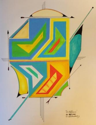 "Los Palabreros   2014  · pen & ink,  color pencil  on paper  ·  14""x10.5"