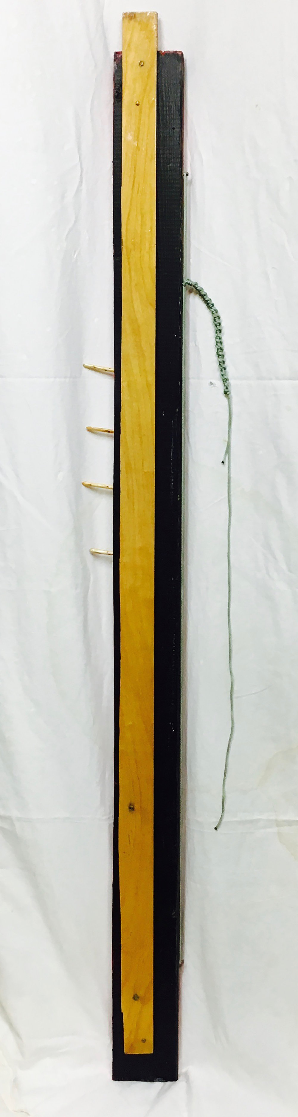 "#Day24520 - Emory Village Stele 2017  · found wood, cedar pegs, brass screws, rope, varnish, paint · 69""x9.5""x2"""