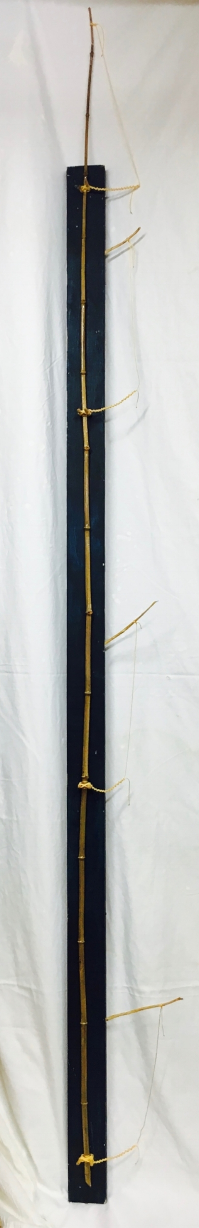 "#Day24520 - Emory Museum Stele 2017 · found wood, cedar pegs, rope, varnish · 107.5""x11""x6.5"""