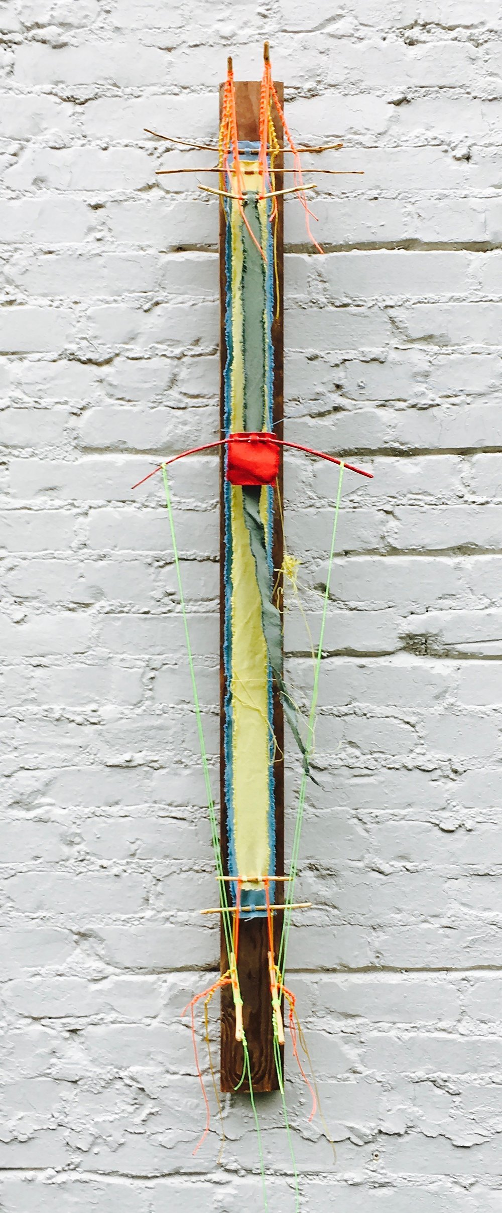 "#Day24595 - stele, archival artefact   2017 · found board/sticks, canvas, string, dye, crayon, varnish · 65""x12""x4"""
