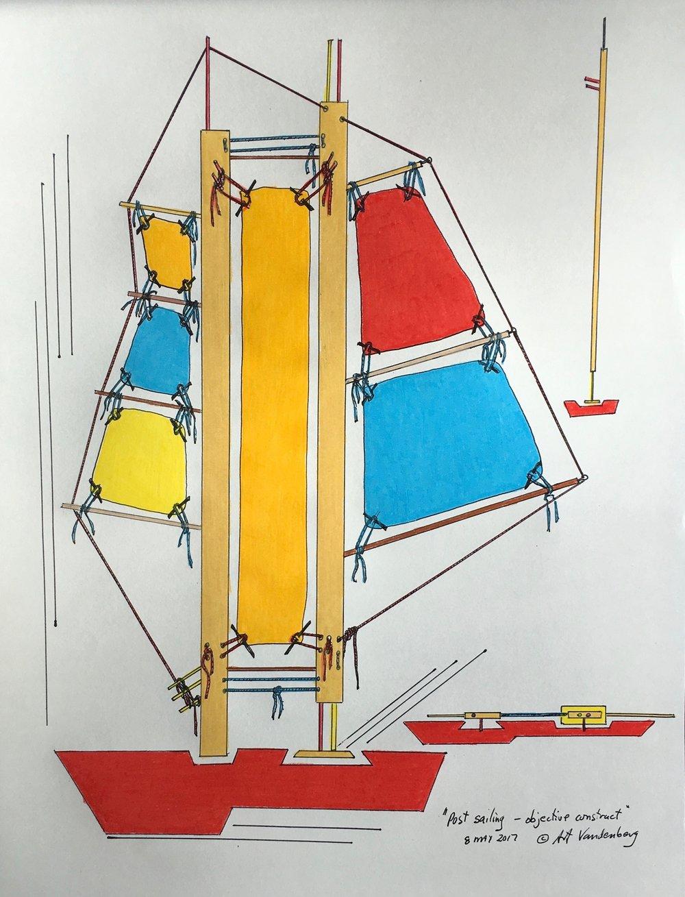 "Post sailing - objective construct 2017 · pen & ink, color pencil on paper · 14""x10.75"""