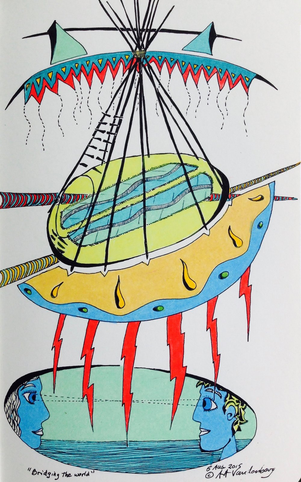 "Bridging the World 2015 · pen & ink, color pencil on paper · 8""x5"""
