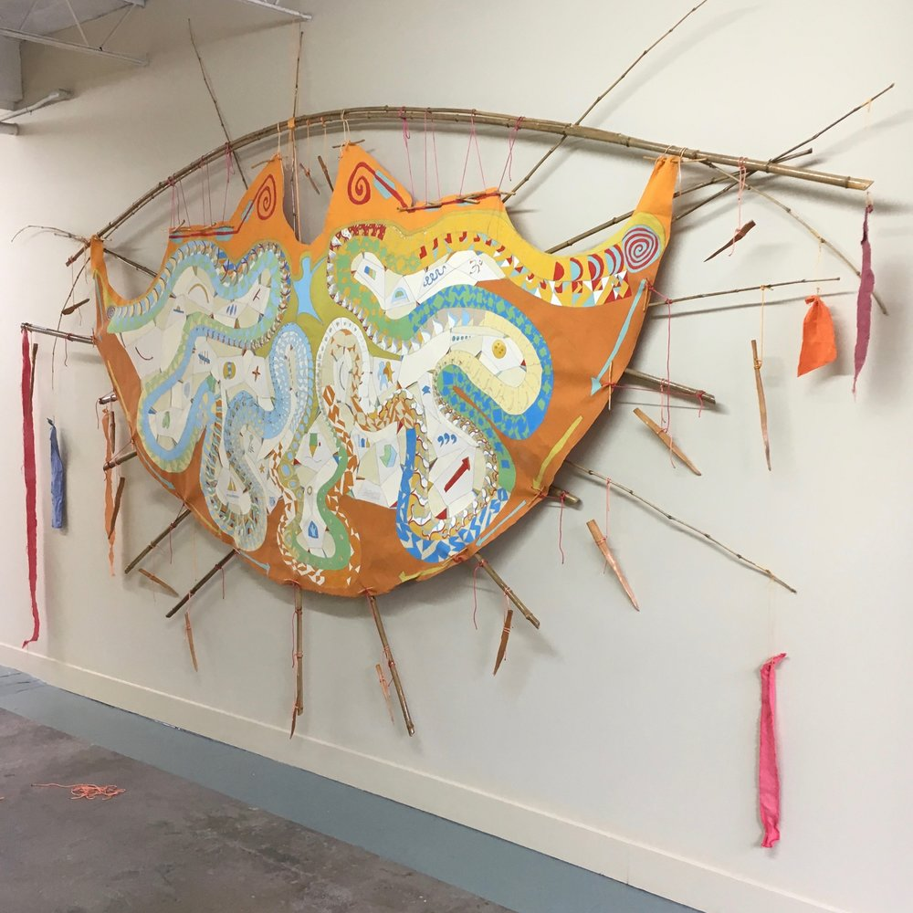 #Day24567 - #MemoriesTipi Redux 2017 installation at Floataway Community Center 2016 · pencil, oil paint on canvas, bamboo, wood, rope, RIT dye · 10'x16.5'