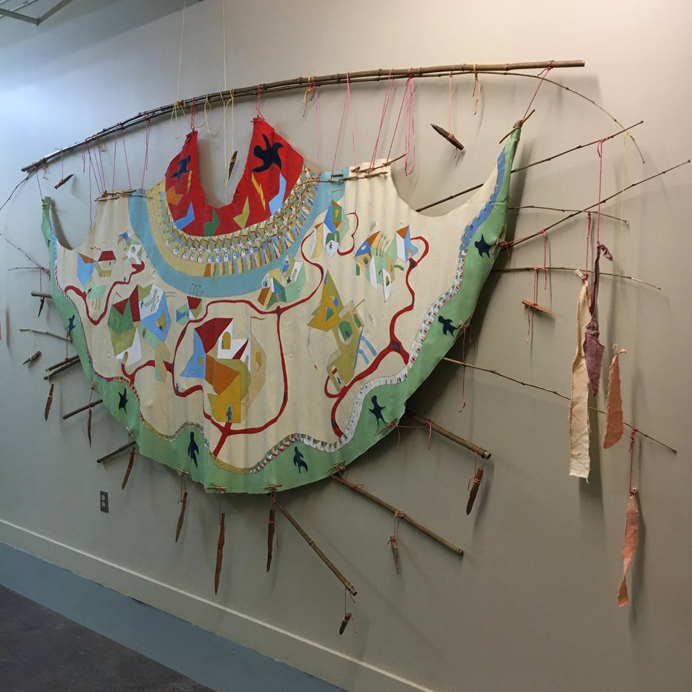 #Day24567 - #WalkAboutTipi (truckin' back in the day)   installation at Floataway Community Center  2016 · pencil, oil paint on canvas, bamboo, wood, rope, RIT dye · 8'x15'