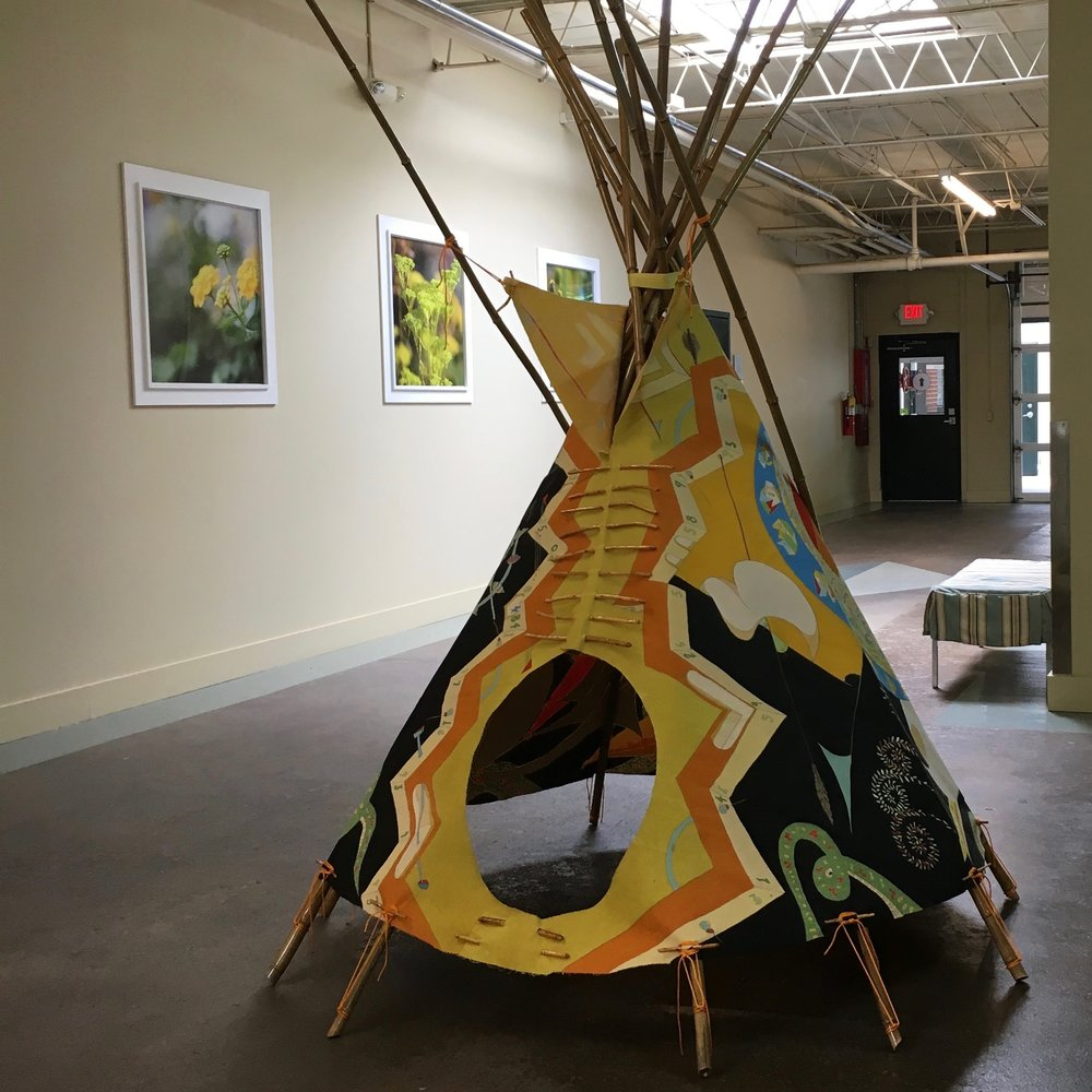 #Day24574 - #CosmicTipi, 'Back by popular demand' version installation at Floataway Community Center 2016 · pencil, oil paint on canvas, bamboo, wood, rope, RIT dye · 1'x8'x8''