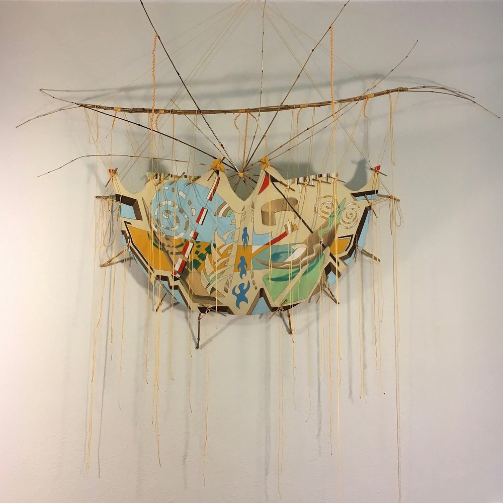 "#TipisEight - 4 - Ascendant   2016 · pencil, oil paint on canvas, bamboo, string, varnish · 68""x68""x31"""