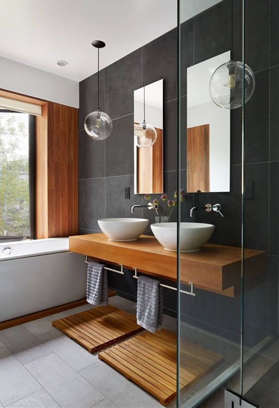 Bathroom Spa Retreat  :  Floating vanities create a sense of space and openness even in the smallest of bathrooms.