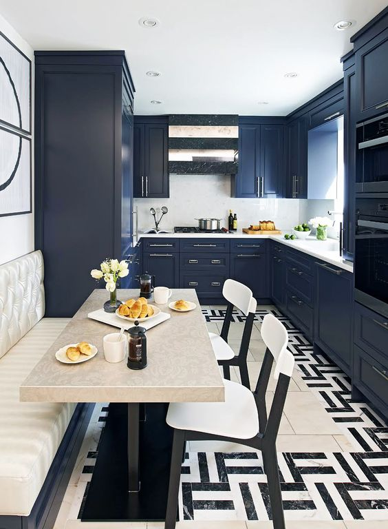 kitchen creations:  Give Beige a well deserved break! Instead turn to Navy, a timeless color which pairs well with almost any palette.