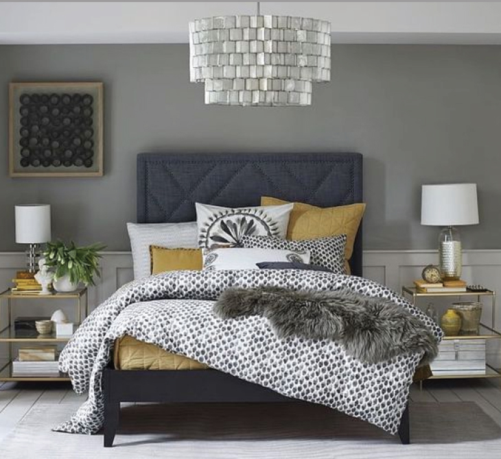 Bedroom retreats:  Trending - Nail head furniture. Add a pop of color to a neutral pallet and your room transforms from boring to breathtaking.