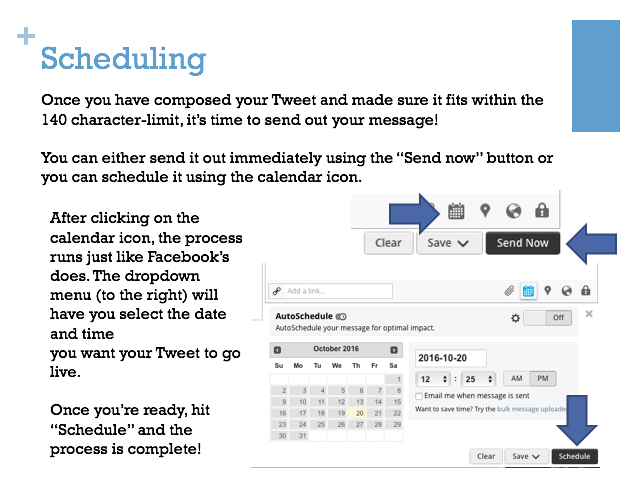 A screen capture from my presentation for Ann Cleare on how to use Twitter and Hootsuite.