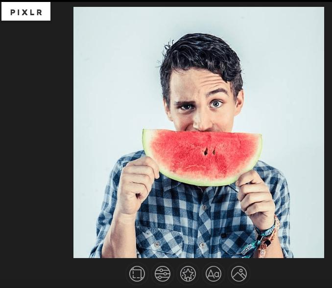 Un ejemplo de cómo se ve el cuadro de edición de Pixlr