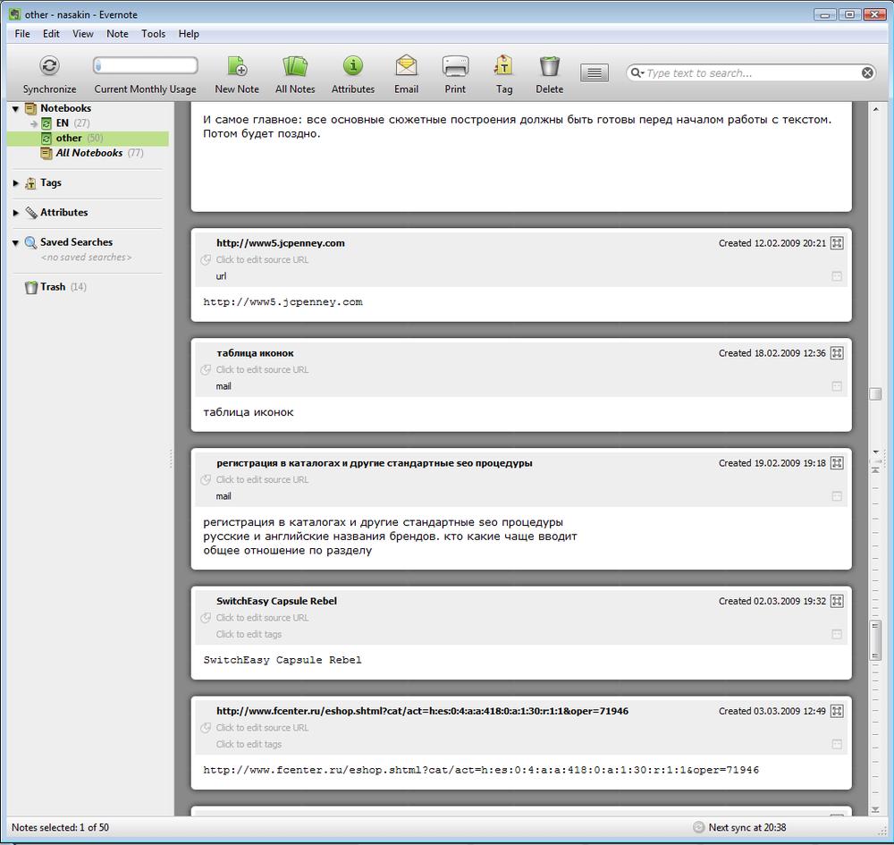 Interfaz de Evernote 2008.