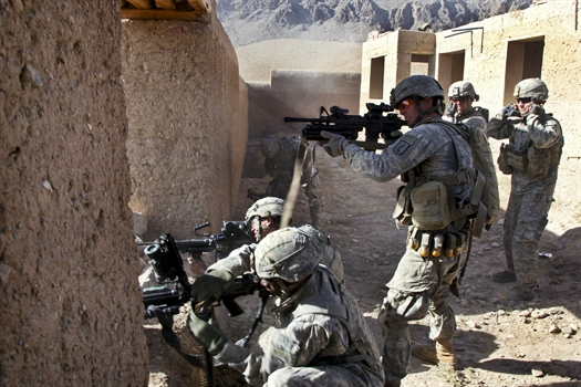 Army soldiers return fire in the Chak district, Wardak province, Afghanistan - Sept. 25, 2010.jpg