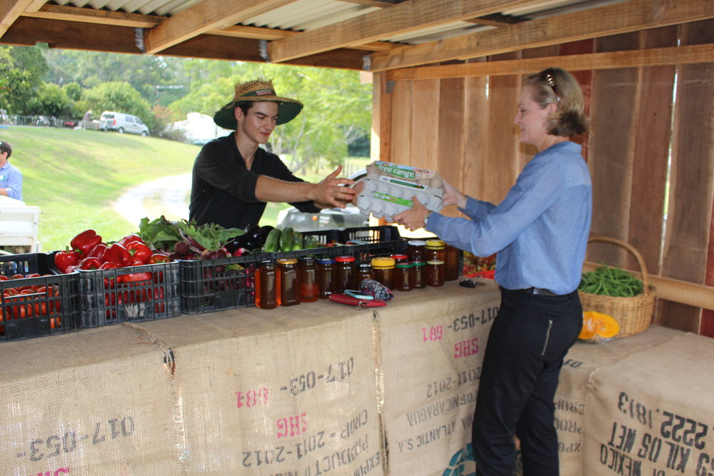 Local resident,Allyson, buying some of her weekly veg supplies