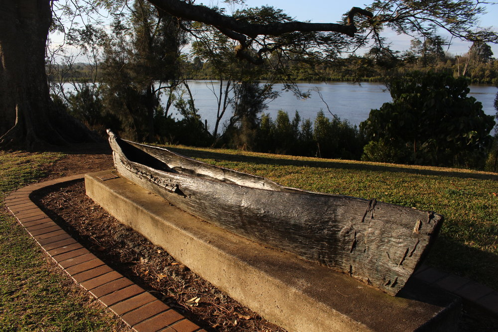 Bronze canoe near Pamphlett Bridge.