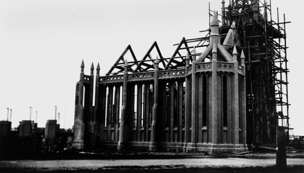 Graceville Uniting Church in the course of erection in 1929, photo courtesy of SLQ, neg. no.34095.