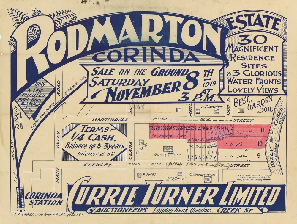 A 1919 advertisement for a new estate at Corinda, showing the location of the train station and the South and Western and South Brisbane Junction Railway lines (State Library of Queensland).