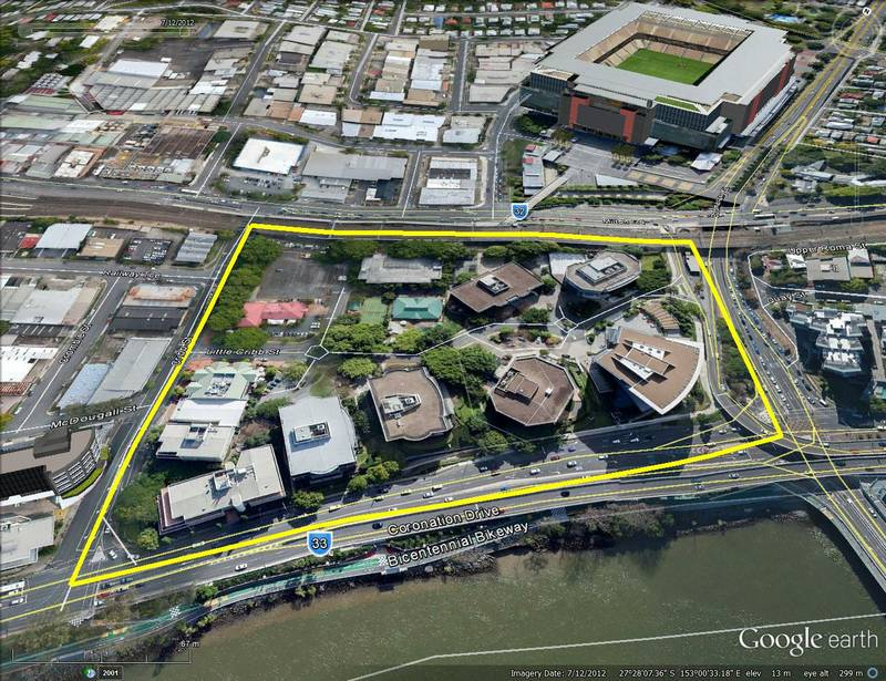 The Coronation Drive Office Park covers 4.5 hectares and is bounded by Cribb Street, the railway line, Boomerang Street and Coronation Drive.