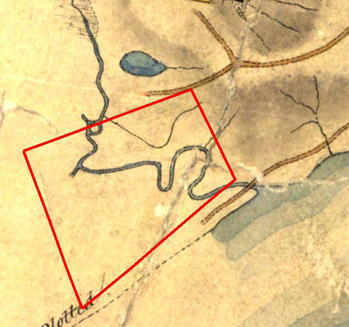 Part of the 'Map of the Environs of Brisbane situate in the County of Stanley', made by the surveyor Henry Wade in 1844, showing the extent of the CDOP site. (Queensland State Archives, Item ID 714302)