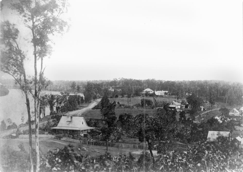 A view of Milton in the 1870s (or perhaps the 1860s). Boundary Street and the CDOP site are in the foreground, while Milton Farm and Milton House occupy the centre of the picture. The house in the foreground on the left is probably E.J. Bennett's first residence, Sparkford Cottage, while the cottage just in front of the row of trees is probably the residence of John George Cribb. (State Library of Queensland, Negative No. 66141)