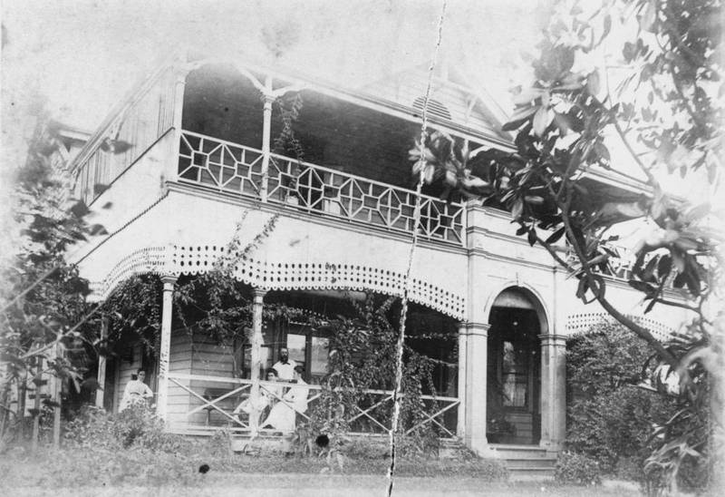 E.J. Bennett's and his family relaxing at the Poplars, c1895. ( State Library of Queensland )