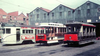 The tram workshops, 1968. ( Brisbane Tramway Museum )