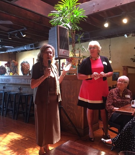 Shelley Elder introduces KSU Women's Basketball Coach Agnus Berenato at Thursday's Women's Business Network Luncheon at Fusco's in Acworth.