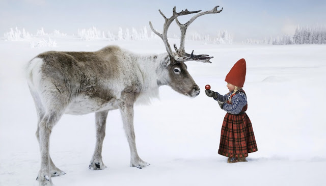 christmas girl with reindeer