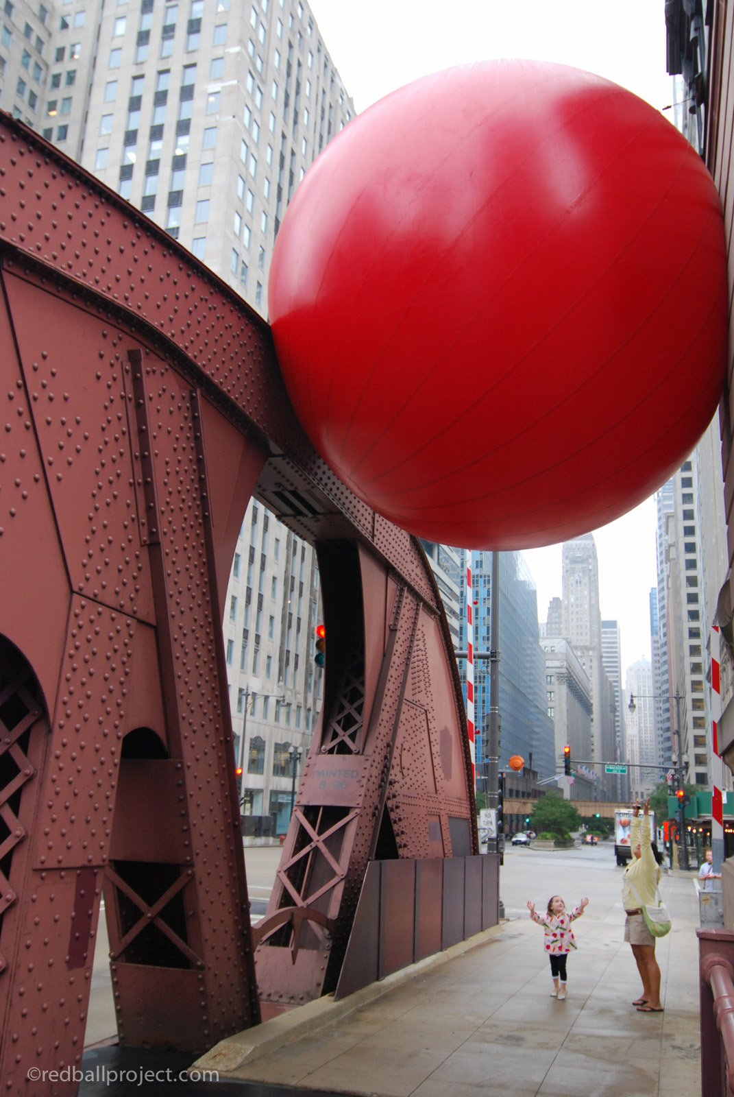 RedBall Chicago at La Salle Bridge, overhead.