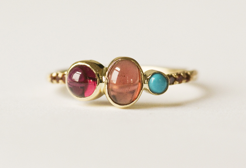 Garnet-Turquoise-Cluster-Ring-front
